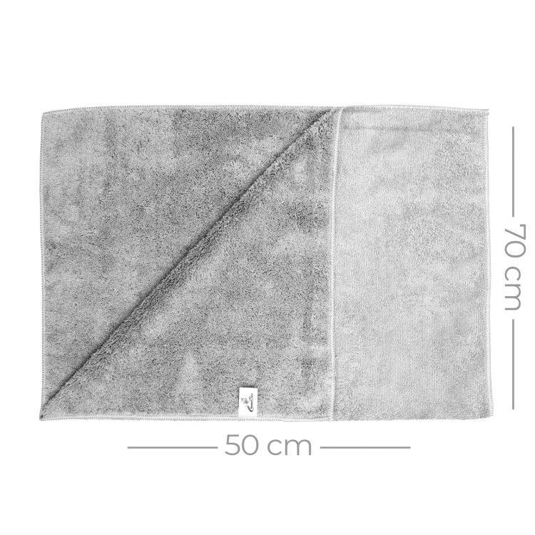Mikrofiber Çift Yüzlü Araç Kurulama Bezi 50x70 440gr/m2 - Açık Gri