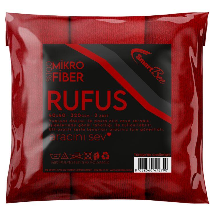SmartBee RUFUS 3'lü Mirkofiber Cila Bezi 40x40 320GSM - Kırmızı